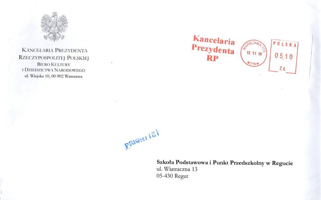 Podziękowanie od Prezydenta RP Andrzeja Dudy