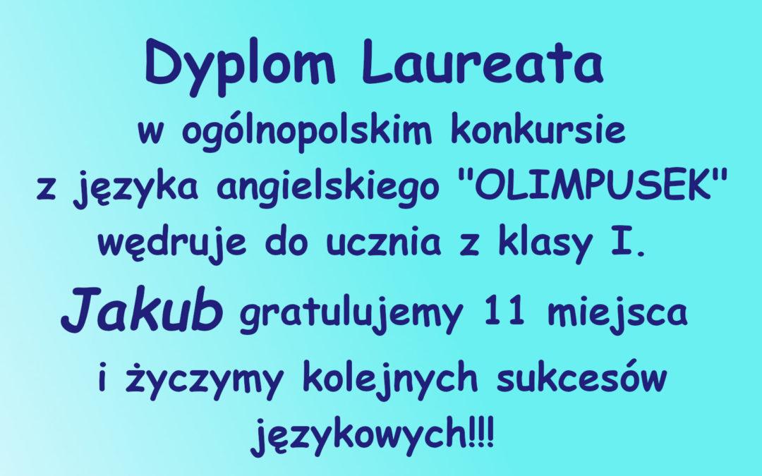 """Laureat ogólnopolskiego konkursu """"Olimpusek"""" z języka angielskiego"""
