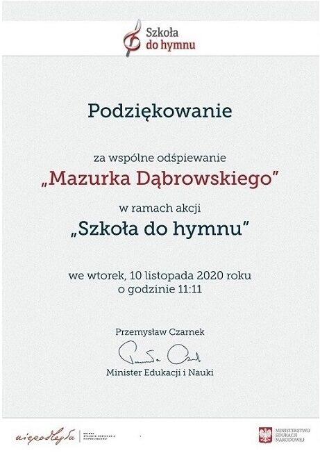 """Podziękowanie za udział w akcji """"Szkoła do hymnu"""""""